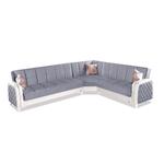 Canapé angle lit coffre velours gris ÉLITE