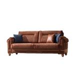 Canapé vintage tissu daim brun TWEEN-2