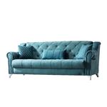 Canapé lit tissu daim bleu MEVA-3