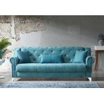 Canapé lit tissu daim bleu MEVA-2