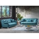 Canapé lit tissu daim bleu MEVA-1