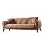Canapé lit tissu daim havane EDGE-3
