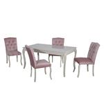 Table repas 4 chaises rose BAROK