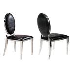 Chaises chromé médaillon croco noir NEO