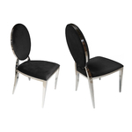 Chaises chromé médaillon velours noir NEO