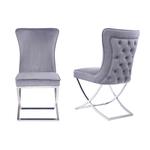 Chaises design capitonné gris ENZO.1