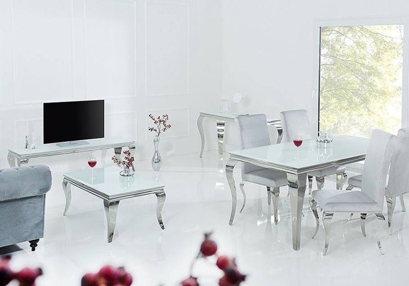 Table basse chromé verre blanc NEO.10