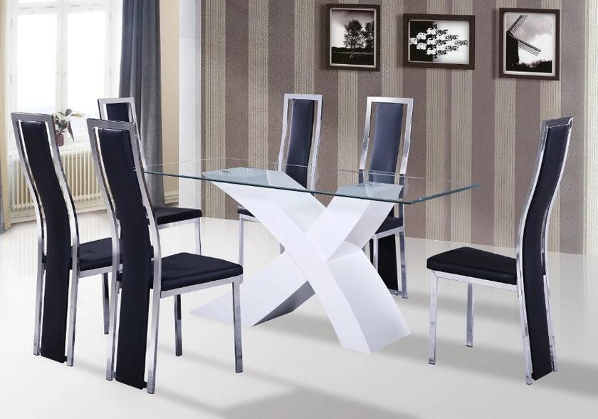 Table laqué blanc6 chaises noir ROY