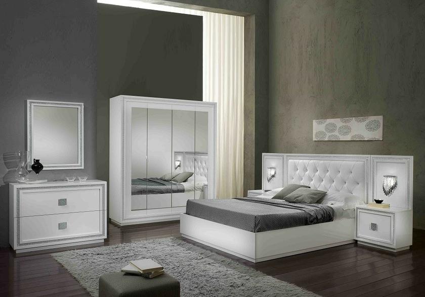 Chambre à Coucher Laqué Blanc Strass KRISTEL Design Moderne Chic.