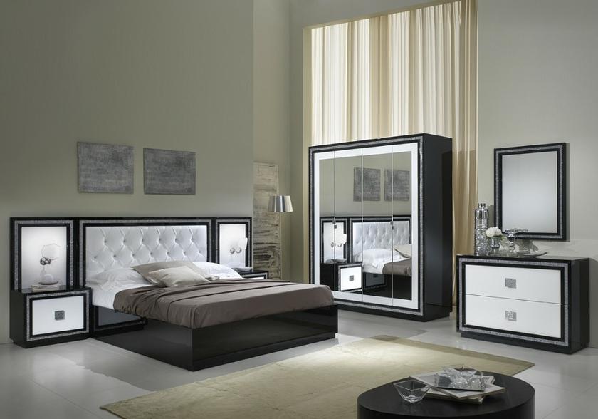 Chambre coucher laqu noir strass kristel design moderne for Chambre chic moderne