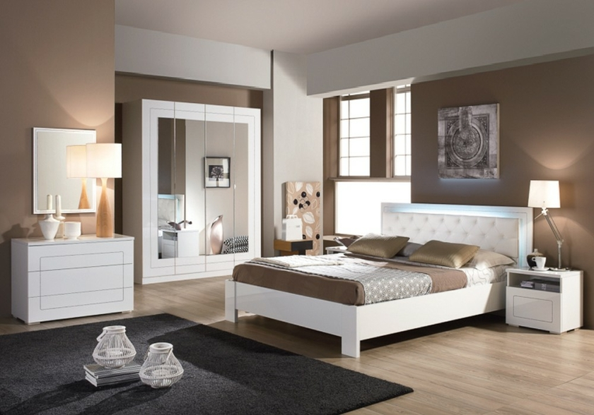 meubles chambre coucher laqu blanc alaska design moderne chic. Black Bedroom Furniture Sets. Home Design Ideas