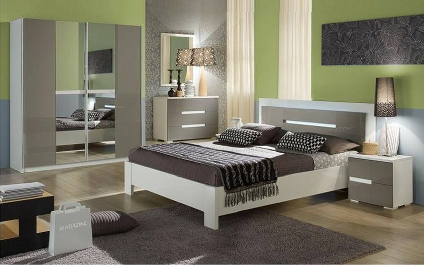 Chambre complète laqué blanc gris NIAGARA Meuble Chambre Pas Cher