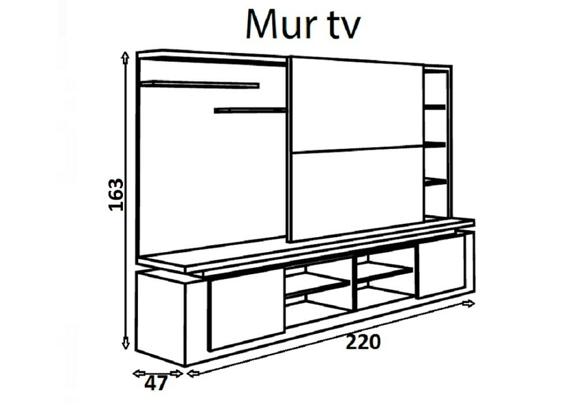 Meuble tv mural design laqu blanc riva s jour mur tv for Meuble mural living