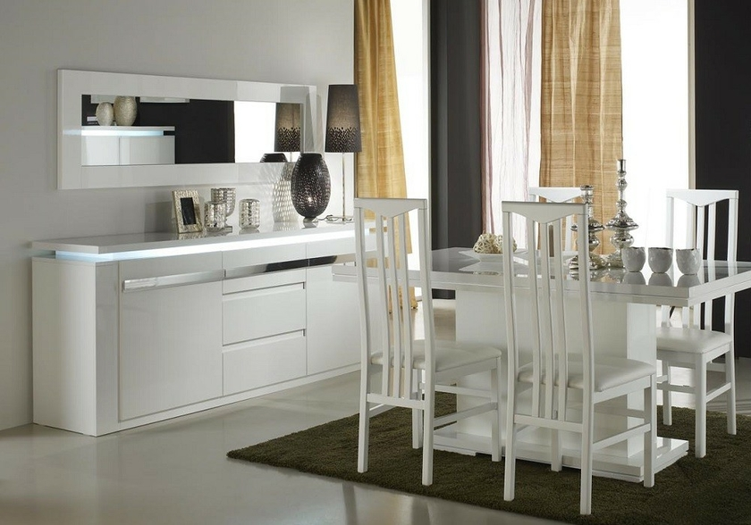 salle manger laqu blanc clairage riva collection design chic. Black Bedroom Furniture Sets. Home Design Ideas