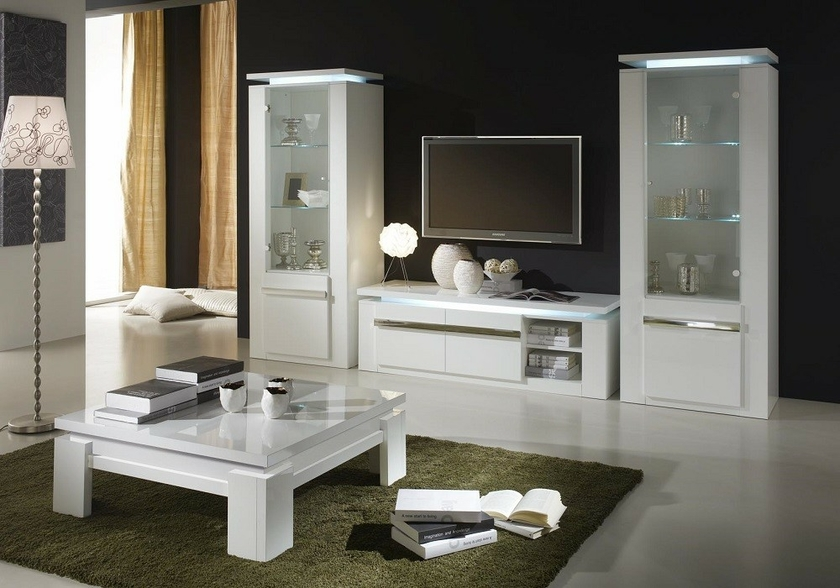 vitrine meuble tv laqu blanc riva design tendance. Black Bedroom Furniture Sets. Home Design Ideas