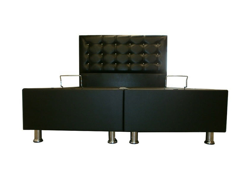 lit coffre t te de lit simili cuir noir capitonn ecoplus chic. Black Bedroom Furniture Sets. Home Design Ideas