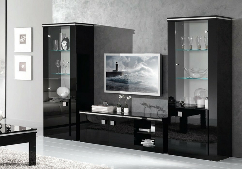 vitrine meuble tv laqu noir etoile design ensemble sobre moderne. Black Bedroom Furniture Sets. Home Design Ideas