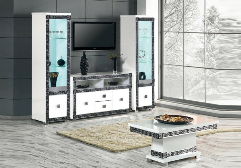 vitrine meuble tv blanc versace mur tv living design pas cher. Black Bedroom Furniture Sets. Home Design Ideas