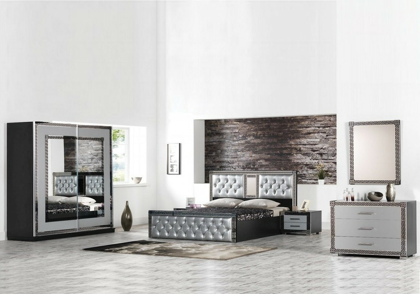 Chambre compl te laqu noir versace design moderne for Chambre complete design noir