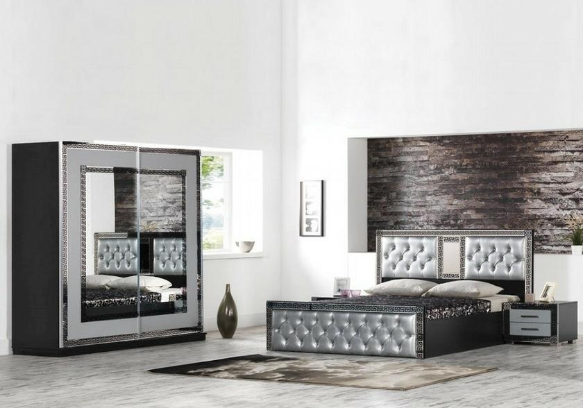 chambre-adulte-complète-noir-gris-versace