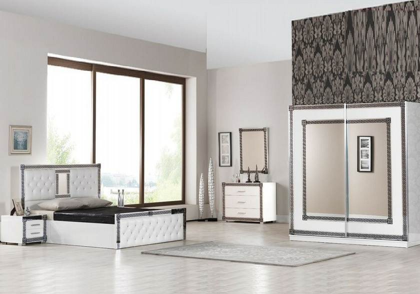 chambre compl te laqu blanc versace ligne design moderne. Black Bedroom Furniture Sets. Home Design Ideas