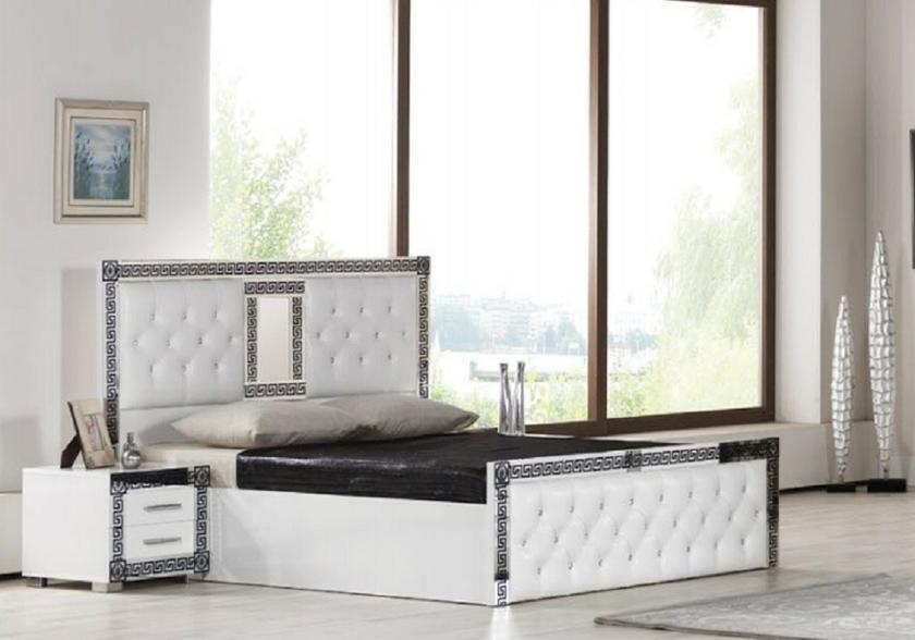 Chambre compl te laqu blanc versace ligne design moderne for Chambre complete blanc laque