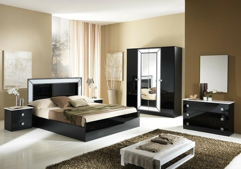 chambre compl232te laqu233 noir idea couleur moderne