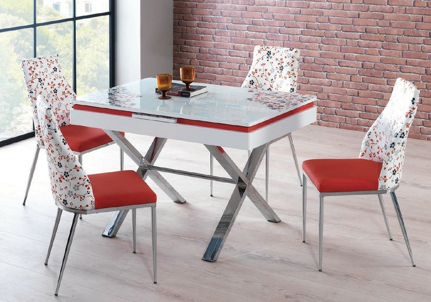 table extensible chaises rouge joy table chaise pas cher. Black Bedroom Furniture Sets. Home Design Ideas