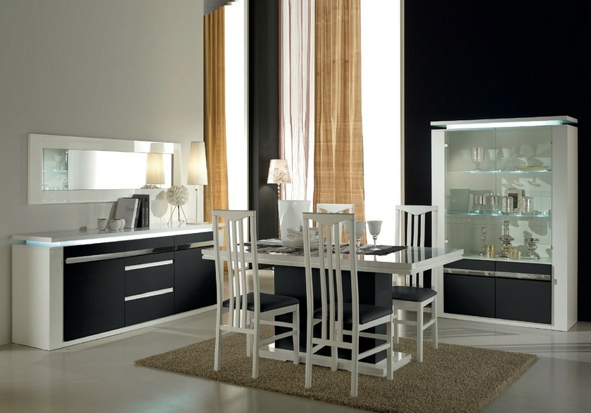 salle manger laqu blanc noir clairage riva collection design. Black Bedroom Furniture Sets. Home Design Ideas