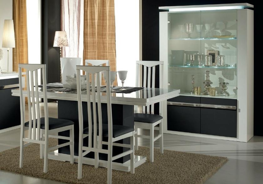 Salle manger laqu blanc noir clairage riva collection for Meuble de salle a manger noir et blanc