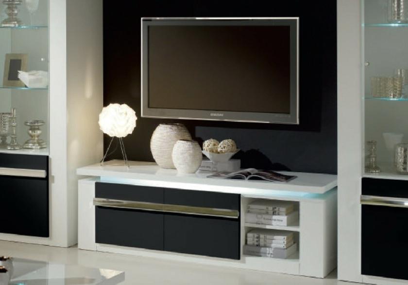 meuble tv laqu blanc noir clairage riva design chic pas cher. Black Bedroom Furniture Sets. Home Design Ideas