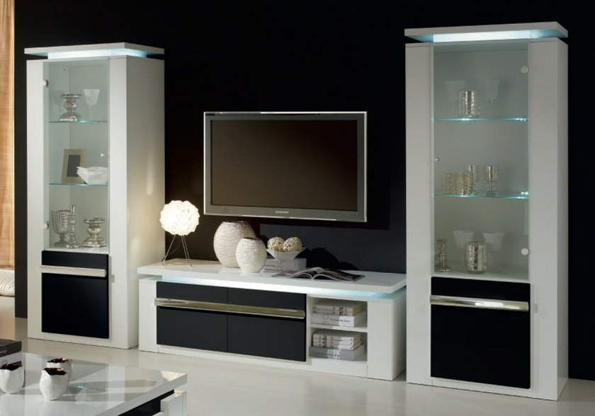 meuble tv laqu blanc noir clairage riva design chic pas cher. Black Bedroom Furniture Sets. Home Design Ideas