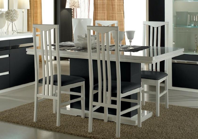 Table Salle A Manger Laque Blanc Noir Riva