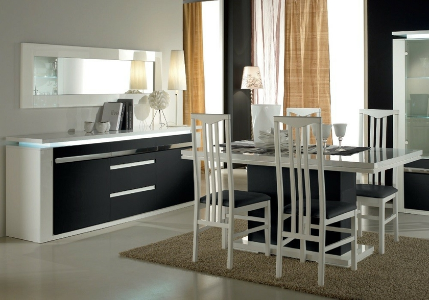table salle manger laqu blanc noir riva touche moderne chic. Black Bedroom Furniture Sets. Home Design Ideas