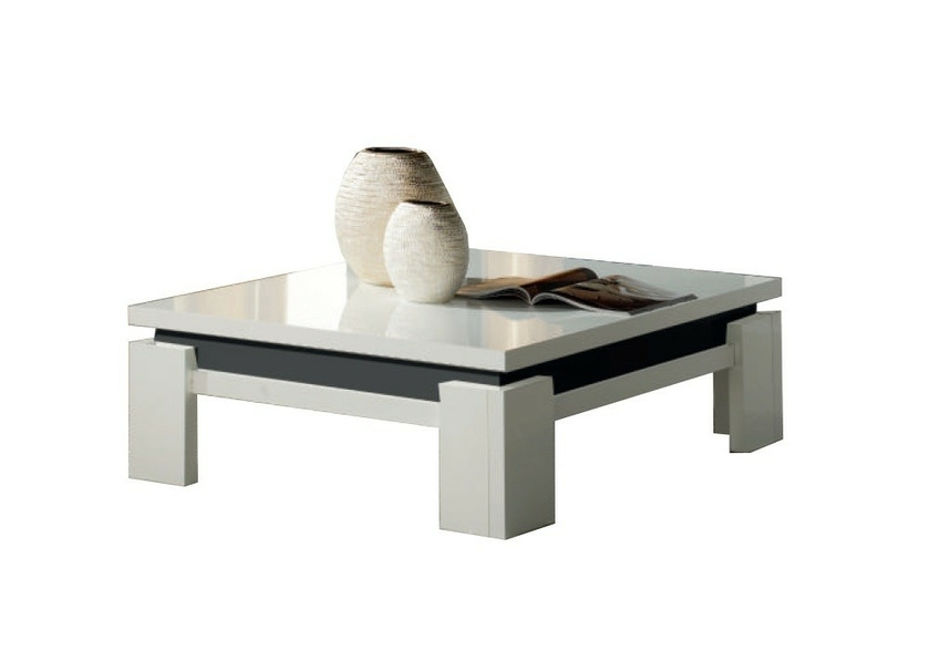 table basse laqu blanc noir riva moderne design pas cher. Black Bedroom Furniture Sets. Home Design Ideas