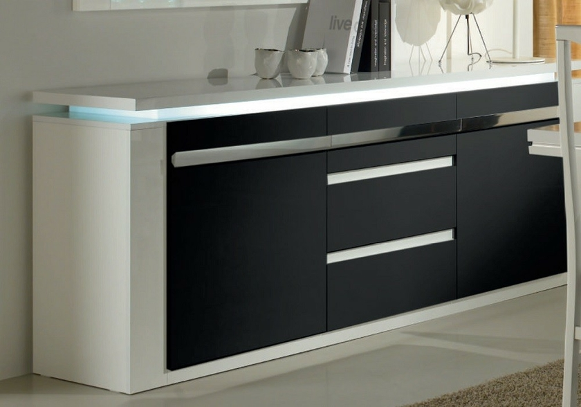 buffet laqu blanc noir clairage riva salle manger. Black Bedroom Furniture Sets. Home Design Ideas