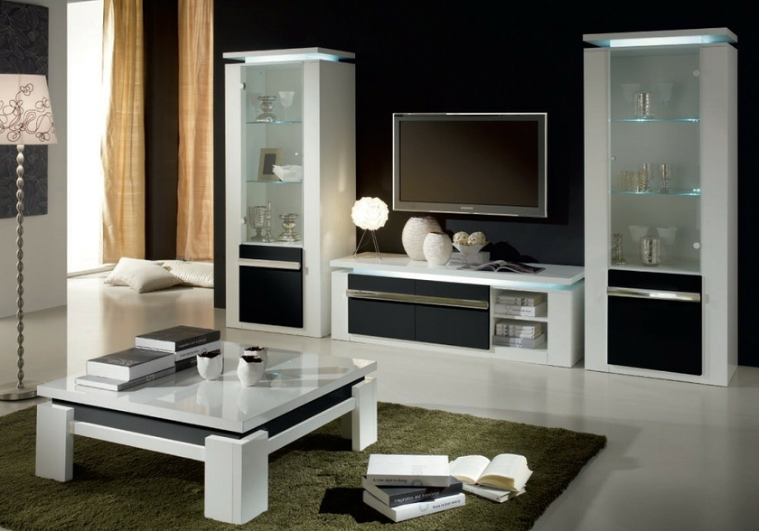 vitrine meuble tv laqu blanc noir riva design moderne pas. Black Bedroom Furniture Sets. Home Design Ideas