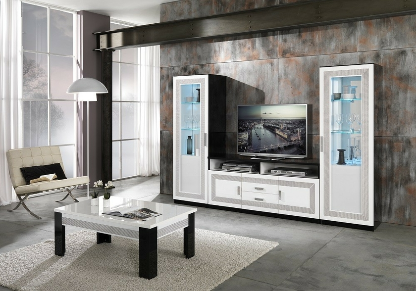 vitrine meuble tv laqu strass tea design chic pour votre salon. Black Bedroom Furniture Sets. Home Design Ideas