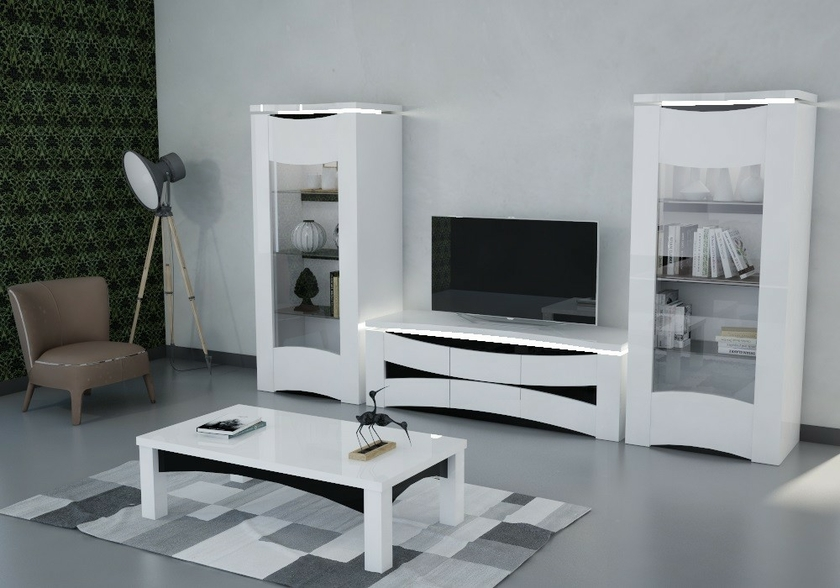 vitrine meuble tv laqu blanc vela design moderne pas cher. Black Bedroom Furniture Sets. Home Design Ideas