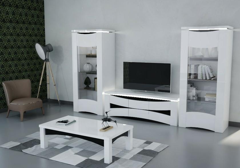 vitrine meuble tv laqu blanc vela design moderne pas cher. Black Bedroom Furniture Sets. Home Design Ideas