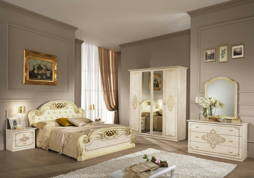 chambre compl te laqu beige anna meuble chambre style baroque. Black Bedroom Furniture Sets. Home Design Ideas