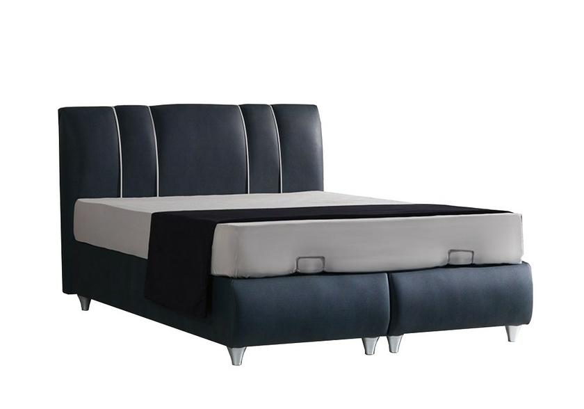 lit coffre t te de lit velours gris polo pack lits matelas. Black Bedroom Furniture Sets. Home Design Ideas