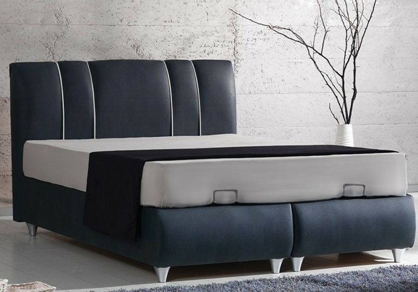 lit coffre t te de lit velours gris polo pack lits matelas. Black Bedroom Furniture Sets. Home Design Ideas