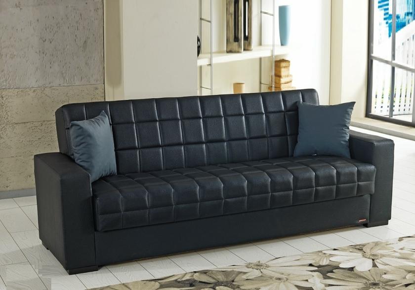 Canap lit clic clac coffre simili cuir noir flex sobre - Clic clac simili cuir ...
