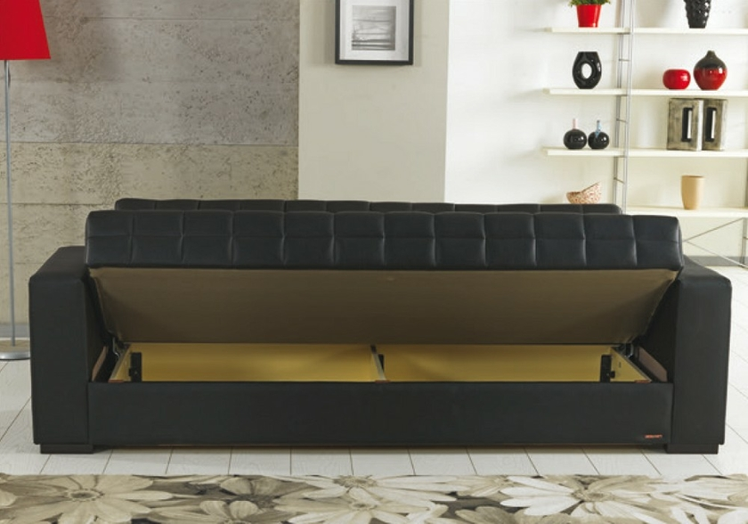 canap lit clic clac coffre simili cuir noir flex sobre. Black Bedroom Furniture Sets. Home Design Ideas