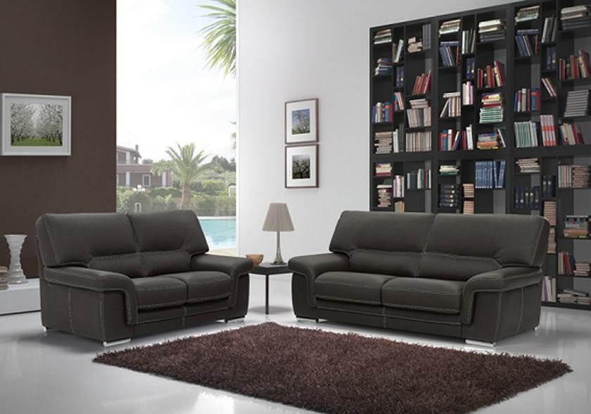 Canapé Cuir Design Noir ANNA Canapé Salon Cuir Moderne Pas Cher - Canapé cuir moderne design