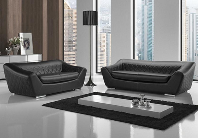 Canapé Cuir Noir Design MICHELANGE Canapé Salon Cuir Design - Canapé cuir noir design