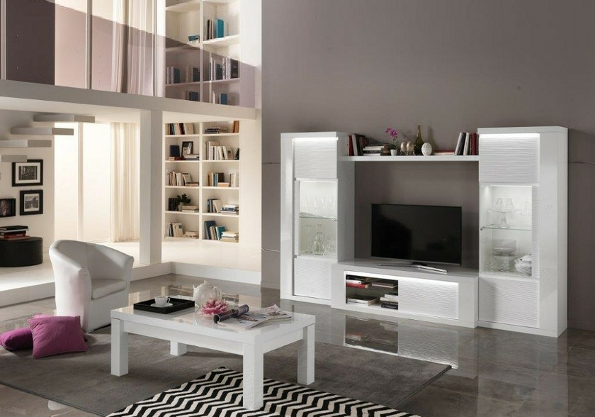 vitrine meuble tv laqu blanc led venezia s jour mur tv. Black Bedroom Furniture Sets. Home Design Ideas