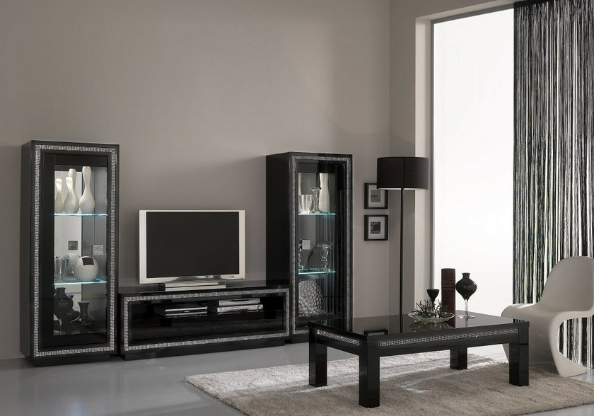 vitrine meuble tv laqu noir led prestige s jour chic d couvrir. Black Bedroom Furniture Sets. Home Design Ideas