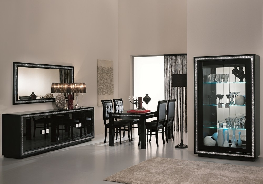 salle manger design laqu noir led prestige s jour design. Black Bedroom Furniture Sets. Home Design Ideas